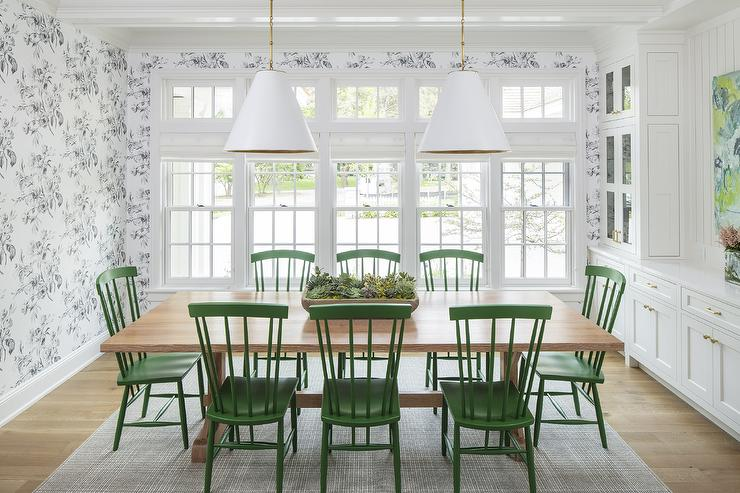White Farmhouse Dining Table With Light Green Bench