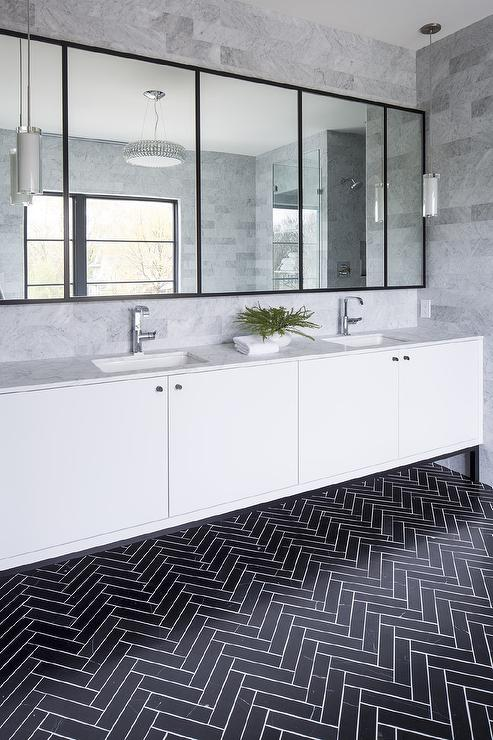 Black Herringbone Bathroom Floor Tiles With White Grout Design Ideas