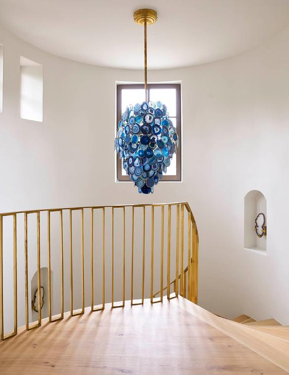 Blue Agate Chandelier With Modern Brass Staircase