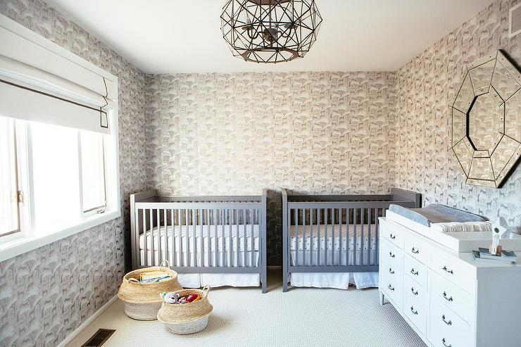 Side By Side Gray Nursery Cribs For Twin Boys