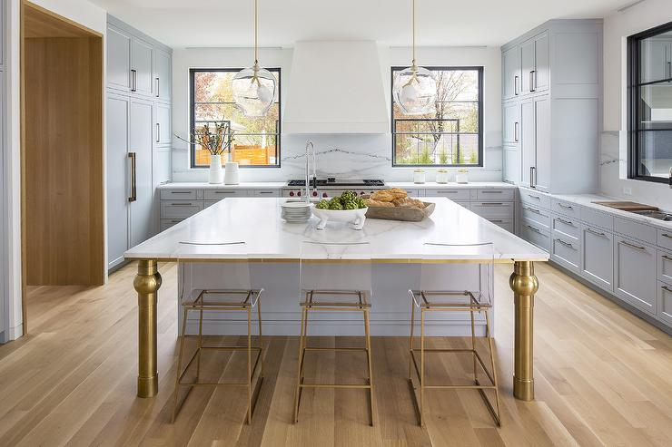 Acrylic And Brass Kitchen Island Stools Design Ideas