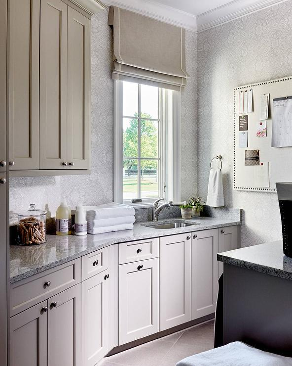 Merveilleux Light Gray Laundry Cabinets With Gray Granite Countertops