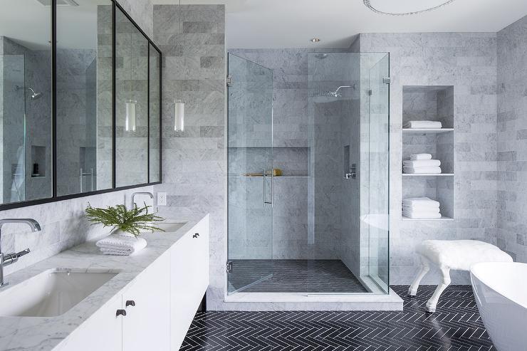 Black Herringbone Bath Floor Tiles with White Grout - Modern - Bathroom