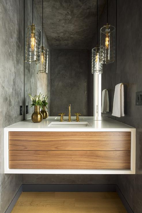 Floating Marble Sink Vanity With Gray Glass Pendants