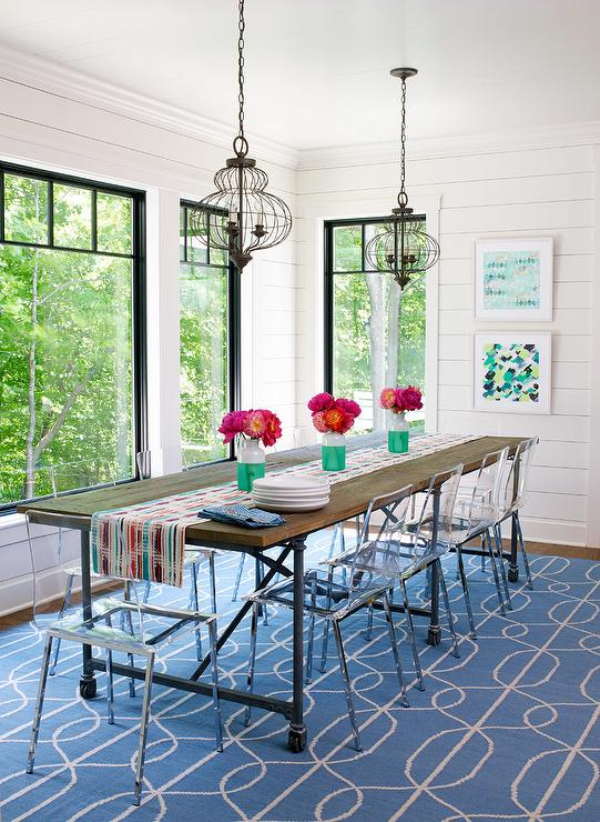 Ikea Ghost Chairs with Industrial Dining Table - Cottage ...