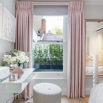 Blush Pink French Pleat Bedroom Curtains Design Ideas