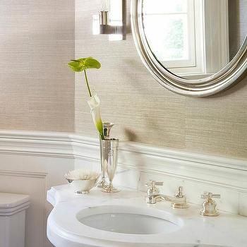 'Gold Grasscloth Wallpaper with Round Silver Leaf Mirror' from the web at 'https://cdn.decorpad.com/photos/2017/10/30/m_glass-legs-on-marble-curved-sink-vanity.jpg'