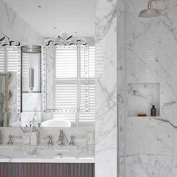 'His and Her Venetian Mirrors on Bathroom Mirror' from the web at 'https://cdn.decorpad.com/photos/2017/10/30/m_his-and-her-mirrors-on-bath-vanity-mirror.jpg'