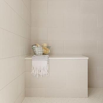 'Cream Shower Tiles with Ivory Hexagon Floor Tiles' from the web at 'https://cdn.decorpad.com/photos/2017/10/30/m_ivory-and-cream-shower-tiles.jpg'