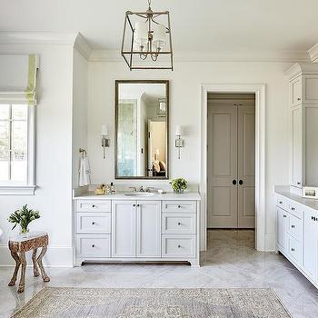 Cream And Gray Wool Rug With Oval Bathtub