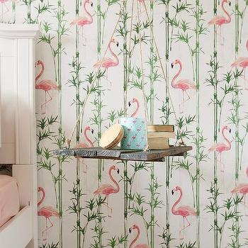 green and pink flamingos wallpaper with hanging bedside table