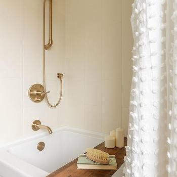 Wood Bathtub Tray With White Tassel Shower Curtain
