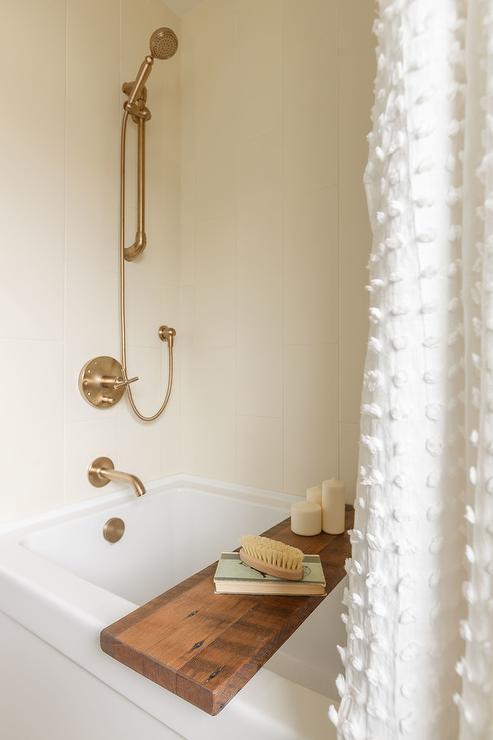Wood Bathtub Tray with White Tassel Shower Curtain - Transitional ...