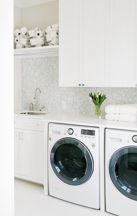mosaic marble laundry room wall tiles with shelf - transitional