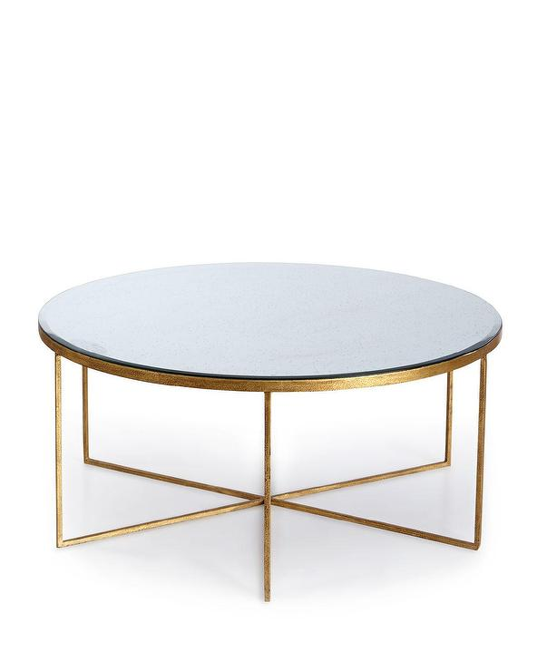 Mirrored Circle Coffee Table: Round Gold Quatrefoil Pattern Coffee Table