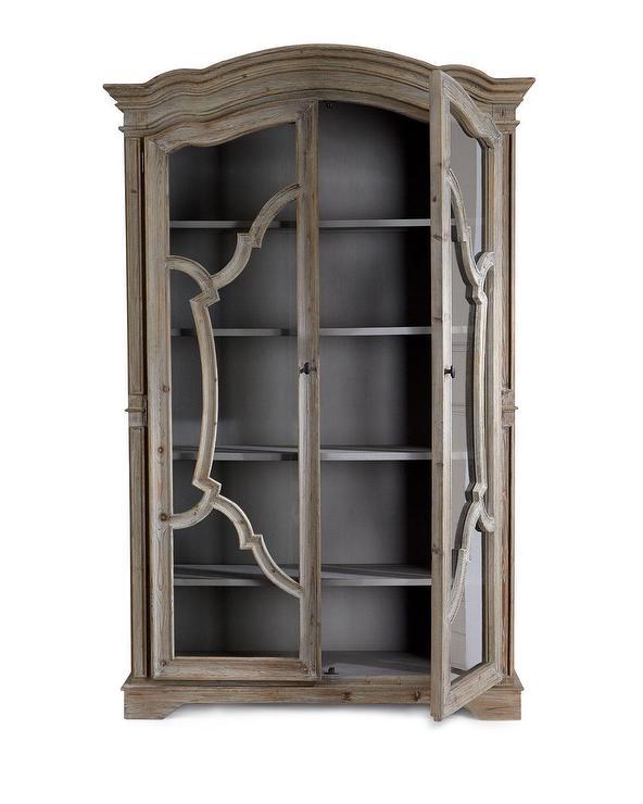Grecia Lattice Gray Wood Glass Armoire