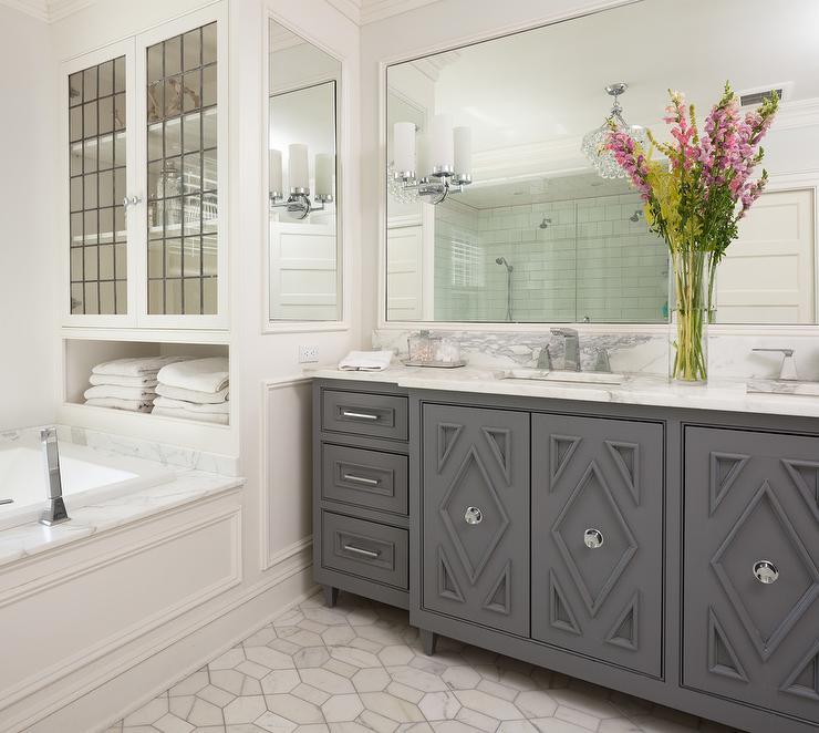 Dark Gray Washstand With Diamond Cabinet Door Trim