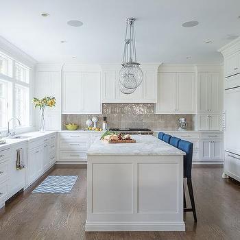 Deep Blue Upholstered Kitchen Counter Stools Design Ideas