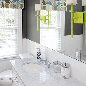 Charcoal Gray And Lime Green Kid Bathroom Accent Colors