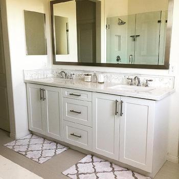 Full Length Gray Mirror with White Dual Washstand