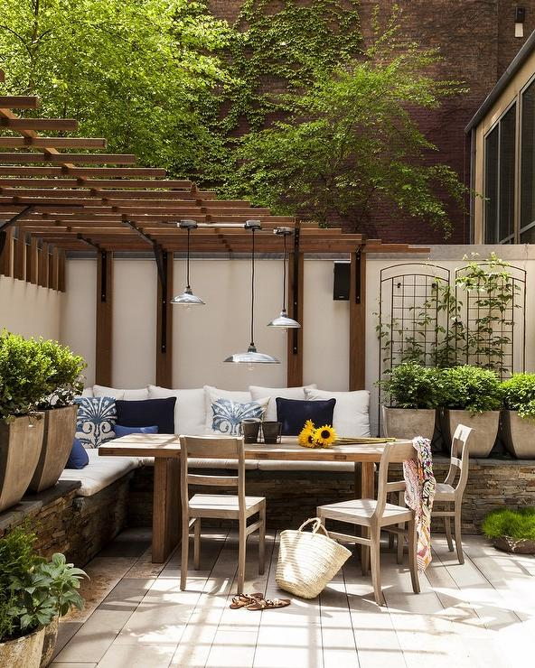 Built In Outdoor Seating Home Design Ideas Pictures: Dining Pergola