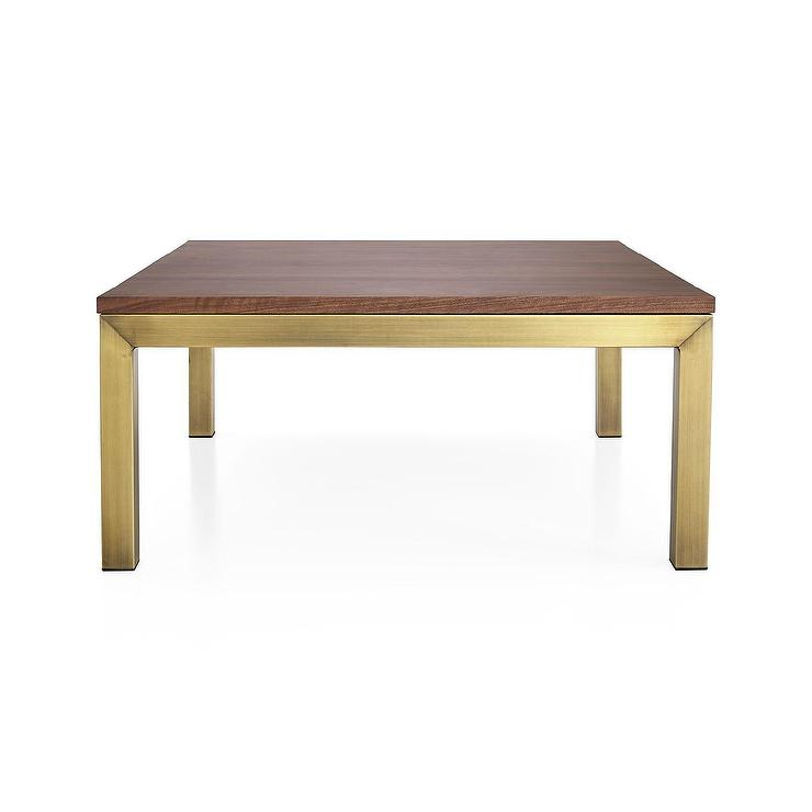 Parsons Walnut Brass Square Coffee Table
