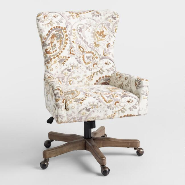 Blue And White Paisley Wingback Chair