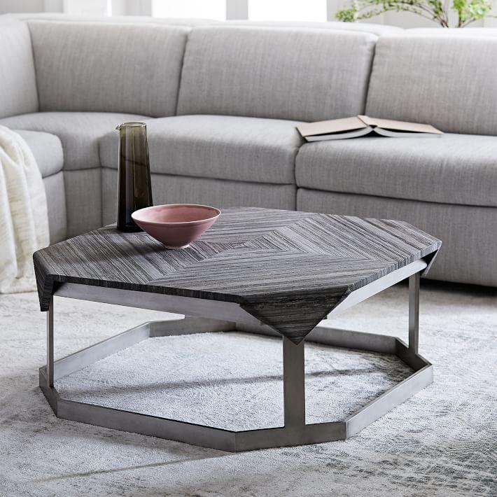 Folded Corners Gray Marble Steel Coffee Table - Coffee table base for marble top
