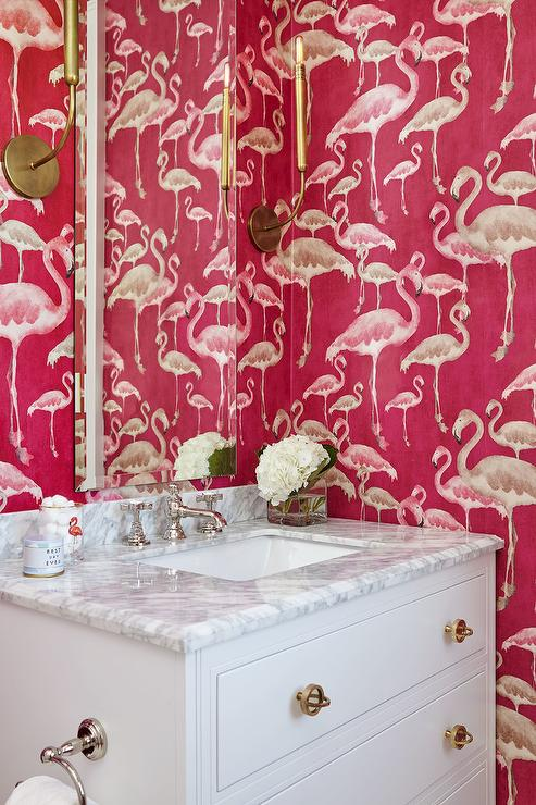 Hot Pink Flamingo Pattern Wallpaper - Contemporary - Bathroom