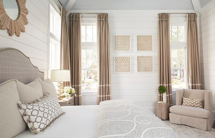Beige French Pleat Curtains with White Stripes - Cottage - Bedroom