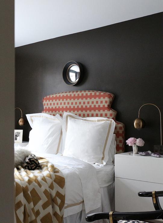 White and Gold Bedding with With Black Walls - Contemporary - Bedroom