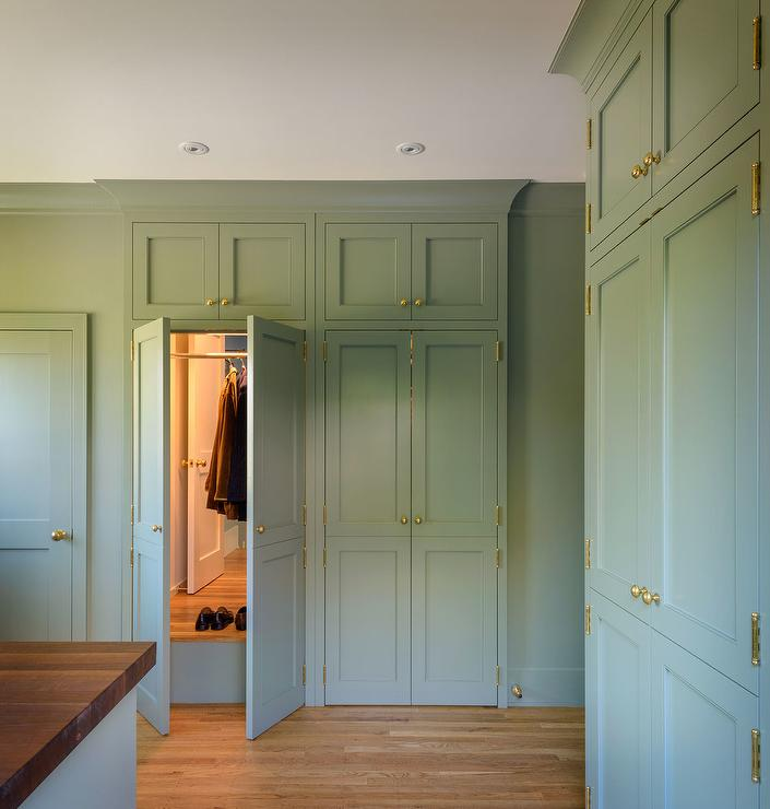 Gray Green Laundry Room Cabinets With Mirror Cottage