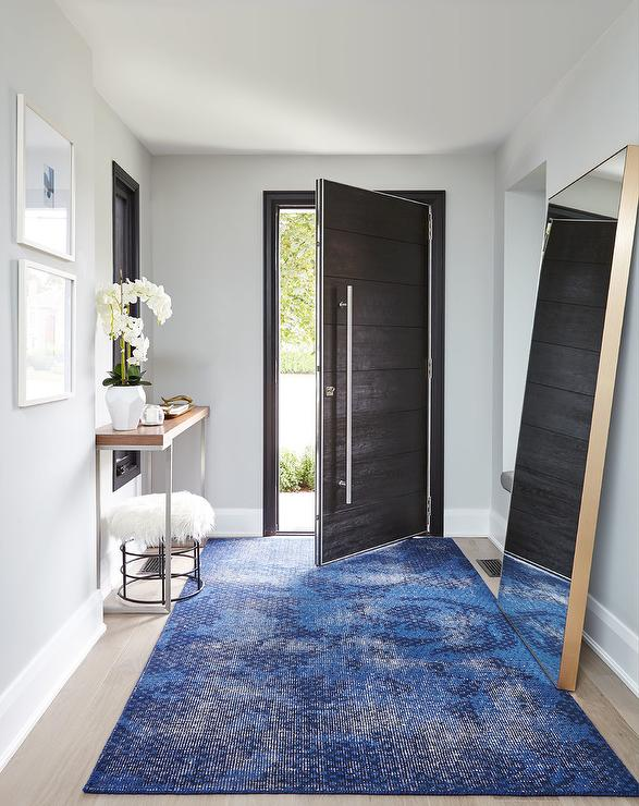 Ebony Wood Paneled Front Door with Blue Overdyed Rug & Ebony Wood Paneled Front Door with Blue Overdyed Rug - Contemporary ...