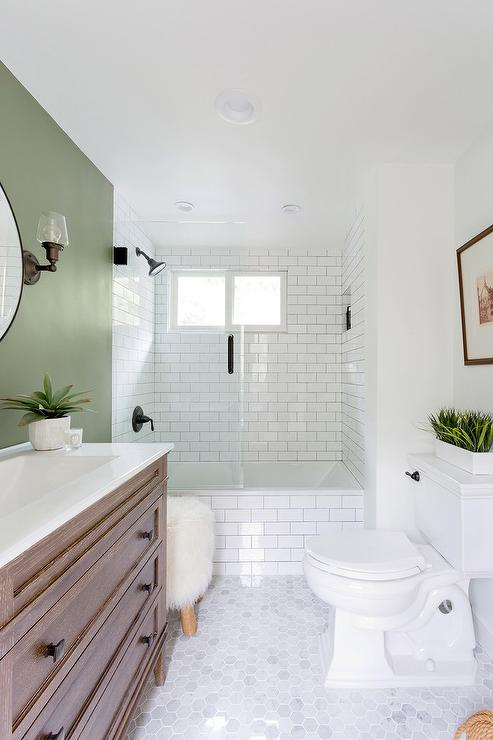 White and black bathroom with green accents contemporary for Green and brown bathroom decor