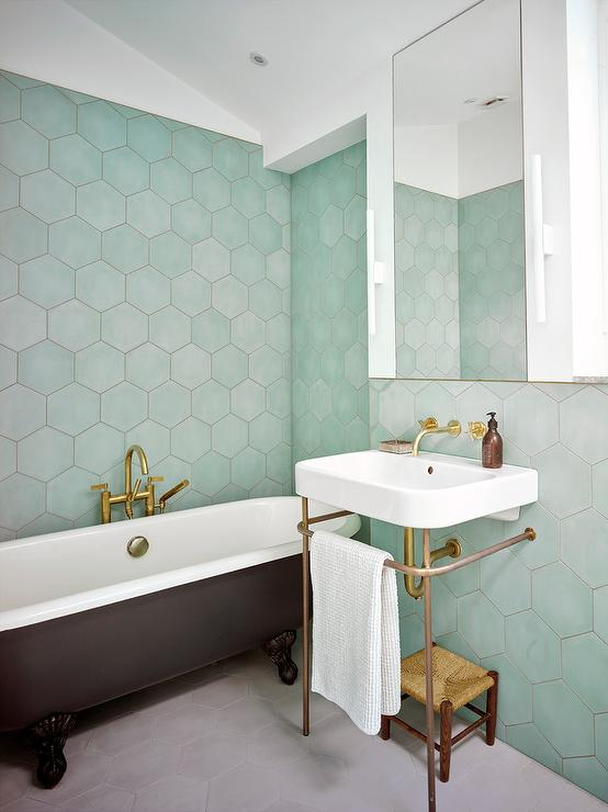 Green Hexagon Tiles with Black Clawfoot Bathtub - Contemporary ...