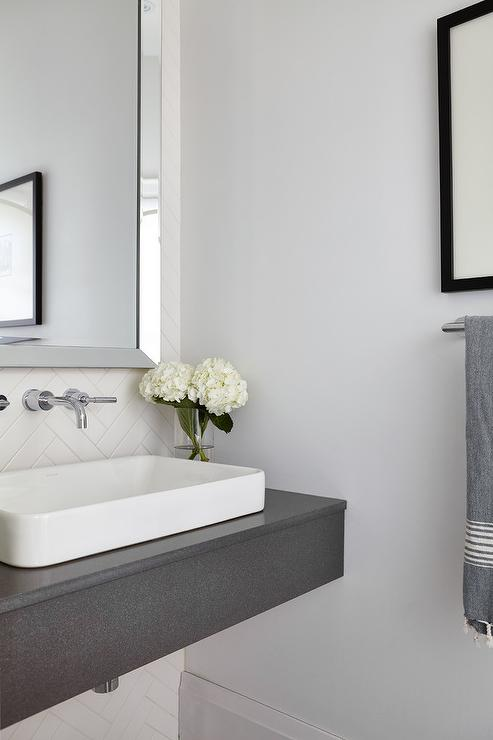 Gray Floating Sink Vanity With White Vessel Sink Contemporary