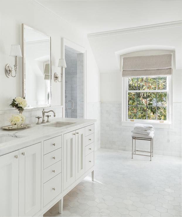 Large White Marble Hexagon Bath Floor Tiles Transitional Bathroom
