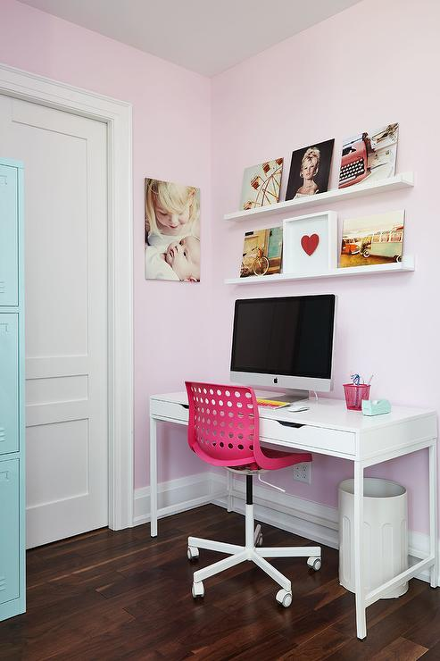 Hot Pink Task Chair With White Desk