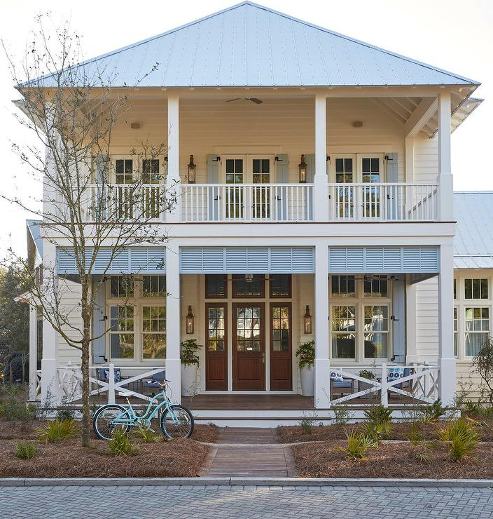 Outdoor Lighting For Beach House: Light Gray Home Exterior With Turquoise Shutters