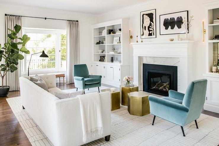 white sofas in living rooms. White Sofa with Blue Velvet Chairs  Transitional Living Room