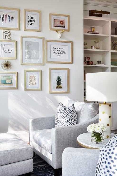 Kate Spade White And Gold Dots Lamp Transitional Living Room