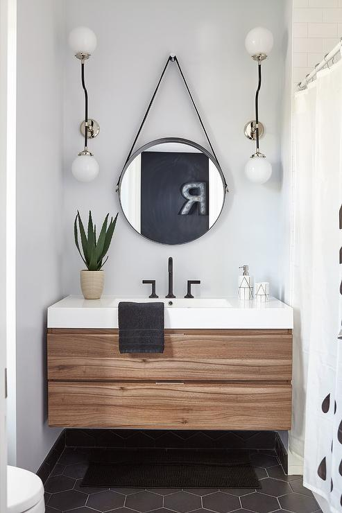 Modern Cottage Bathroom With Large Black Hex Tile Floor
