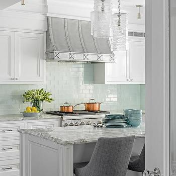 Aqua Blue Glass Tiles With French Hood Transitional