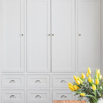 Floor To Ceiling Shaker Cabinets And Drawers With Nickel Hardware