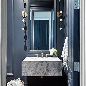 Floor To Ceiling Black Powder Room Wainscoting Design Ideas