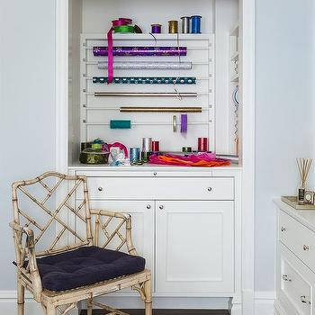 Gift Wrapping Station Nook With Bamboo Chair