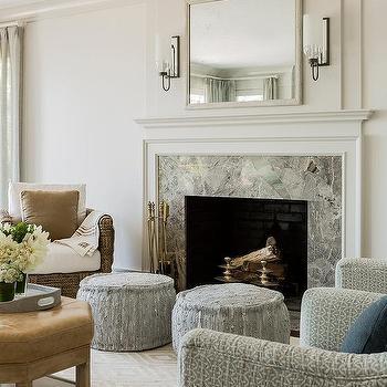 Genial Gold Diamond Print Rug With Gray Marble Fireplace Surround