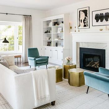 Gold Geometric Accent Tables With White Tufted Shelter Back Couch Transitional Living Room Benjamin Moore Cloud Cover