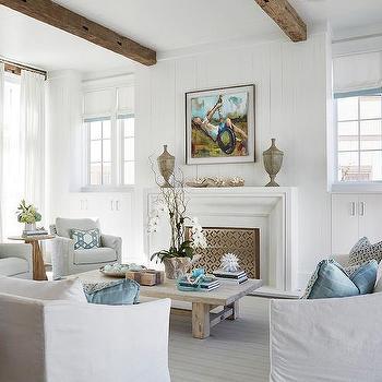 White Slipcovered Beach Style Living Room Sofa Design Ideas