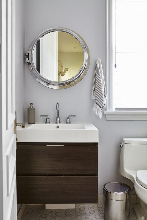 Royal Naval Porthole Mirrored Medicine Cabinet With Floating Sink Vanity